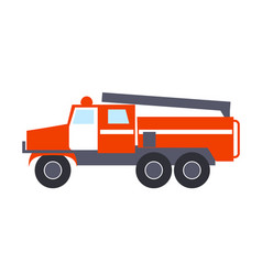 Fire engine with ladder isolated vector