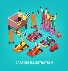 isometric carting racers background vector image vector image