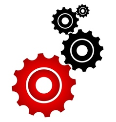 Red and black cogs vector image