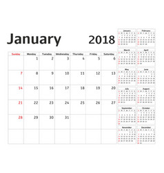 simple calendar planner for 2018 year design vector image