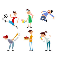 six children set vector image vector image