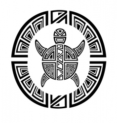 tribal turtle wheel tattoo style vector image vector image