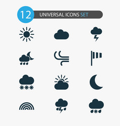 Weather icons set collection of wet nightly vector
