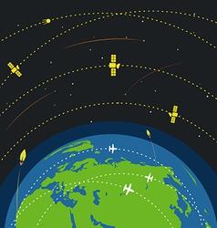 Abstract global modern flying transport scheme vector image vector image