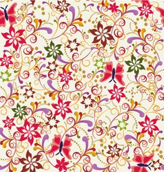 abstract seamless pattern Butterfly and Flower vector image vector image