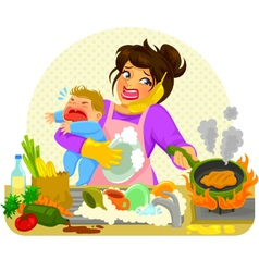busy mom vector image vector image