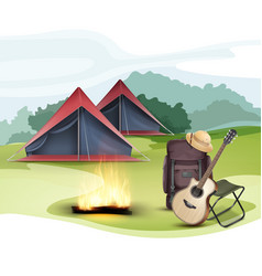 camping zone with tent vector image