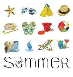 hand drawn Summer set icons vector image vector image