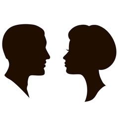 Man and woman faces vector profiles vector