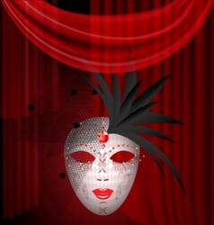 Red drape and carnival mask vector