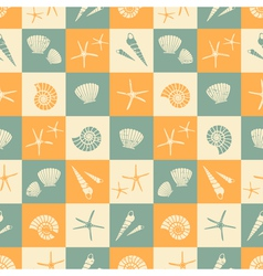 Seamless summer pattern with seashells vector image