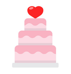stacked love cake flat icon valentines day vector image vector image
