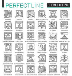 3d printing 3d modeling and scanning technology vector image