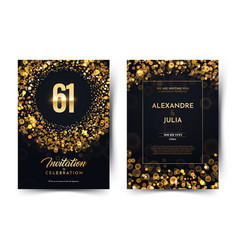 61st years birthday black paper luxury vector