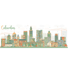 Abstract columbus skyline with color buildings vector