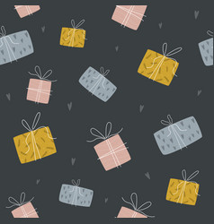 abstract seamless pattern with colorful gift boxes vector image