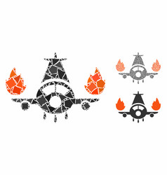 Airplane engines burn composition icon inequal vector