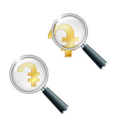 armenian dram currency symbol with magnifying vector image