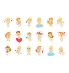 Baby angels with bows arrows and hearts set vector