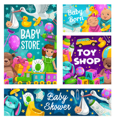 baby shower toys shop kids store cartoon vector image