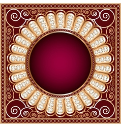 Background with precious stones gold pattern vector image