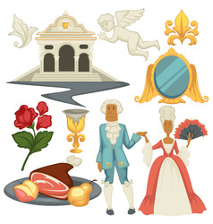 baroque epoche man and woman in wigs architecture vector image
