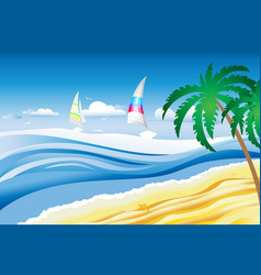 beach and boats in the sea vector image