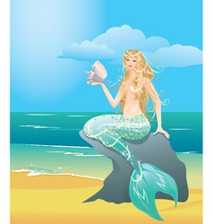Beautiful mermaid girl with sea shell vector