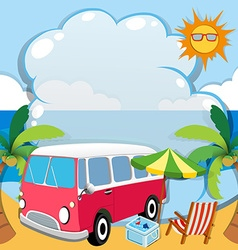 Border design with van on the beach vector