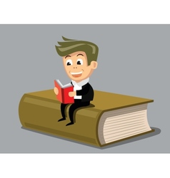 Boy reading a book vector