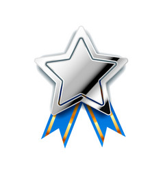 Bright silver award in star shape with blue tape vector