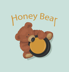 brown bear toy with pot honey top view cute vector image