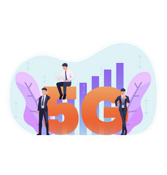 business people use 5g in various activities vector image