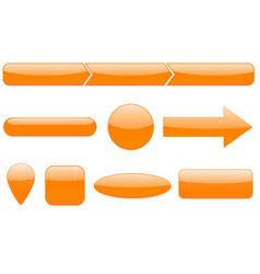 Buttons set orange web icons vector