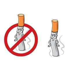 Cartoon angry cigarette with stop sign vector image