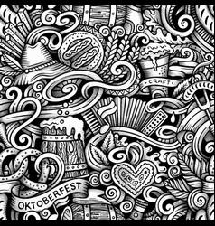 Cartoon hand-drawn doodles octoberfest seamless vector
