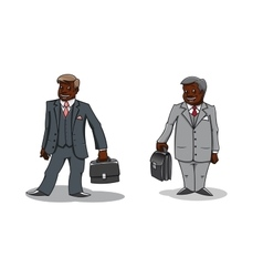 Cartoon happy businessmen with briefcases vector image