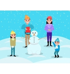 Cartoon happy family playing snowballs snowman vector image