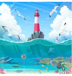 Cartoon lighthouse sea clipart vector