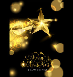 christmas and new year gold star greeting card vector image