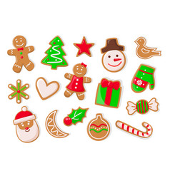 christmas holidays symbolic gingerbread cookies vector image