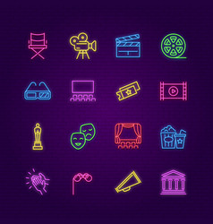 cinema icons neon entertainment colorful symbols vector image
