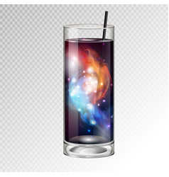 Cocktail glass with space background inside vector