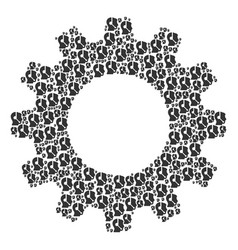 Cogwheel mosaic of call center operator icons vector