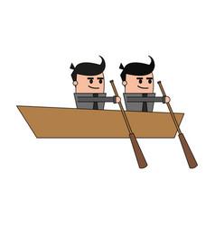 color image teamwork business in boat vector image