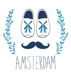 Colorful amsterdam composition with shoes and vector