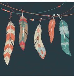 colorful set of ethnic decorative feathers hanging vector image