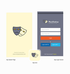 Company masks splash screen and login page design vector