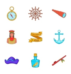 Discovery of America icons set cartoon style vector