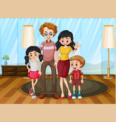 Family member cartoon character in living room vector